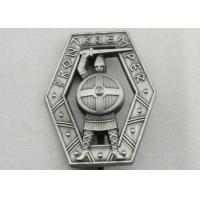 China Zinc Alloy 3D Warrior Badge, Antique Silver Plating Souvenir Clip Metal Badges wholesale
