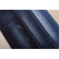 China 10oz 70 Cotton 26.5 Polyester Distressed Black Stretch Denim Fabric By The Yard on sale