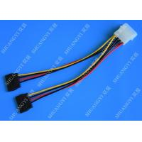 China 4P Molex To Dual SATA Flat Wire Harness And Cable Assembly Black Red Yellow With Y Cable Adapter wholesale