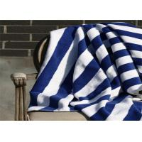 China 100% Cotton Blue & White Color Hotel Stripe Beach Towel With 80*160CM wholesale