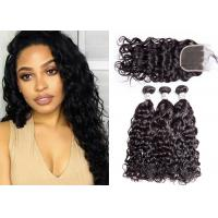 China 3 Pieces Remy Human Weave Bundles With Closure No Lice Or Knit 10A Grade wholesale