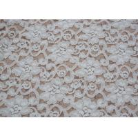 China Fashion Brushed White Lace Fabric Flower Shape , Stretchable 135cm Width CY-LQ0042 wholesale