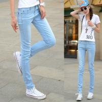 China Jeans Women Straight Slim Leg Cotton&Polyster Light Blue with Elastic Fabric wholesale