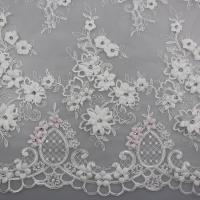 China 3D Flower Beaded Lace Fabric , Embroidery Lace Tulle Fabric For Bridal Dresses wholesale