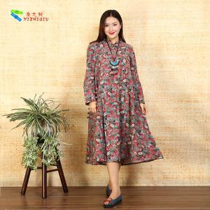 China Ladies Long Sleeve Cotton Shift Dress Floral Loose Irregular Bottom Design wholesale