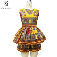 China Sleeveless Top Two Pieces Short African Print Pants Suit , Latest Fashion African Wear Designs wholesale