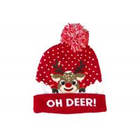 China 9 Gauge Warm Winter Accessories Light Women Christmas Hat With Jacquard Pattern wholesale