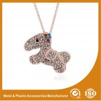 China Crystal Dog Metal Chain Necklace , Long Silver Chain Necklace wholesale