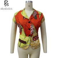 China Multi Color Short Sleeve African Print Tops Designs , African Style Women Shirts wholesale