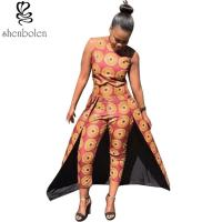 China Summer Women Tall Waist African Print Pants Line Nine Minutes 100% Cotton wholesale