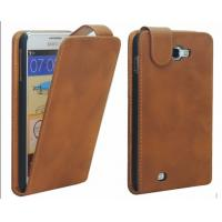 China Customized Brown PU Leather Samsung Galaxy Protective Case Covers on sale