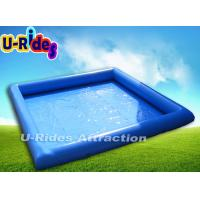 China Square Blue Inflatable Swimming Pools Above Ground Single Tube 6m x 6m x 0.65m on sale