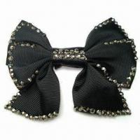 China Ribbon Bow, Made of Grosgrain Tape, Iron-on, with Studs, Various Styles are Available wholesale