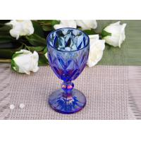 China Antique colored glass candle holders Iridescent Blue Stemware Embossed wholesale