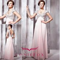 China royal rhinestone sexy backless evening dresses with cap sleeves wholesale