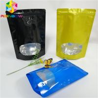 China Glossy Surface Stand Up Zipper Pouch Bags Aluminum Foil Smell Proof With Window wholesale