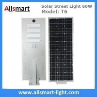 China 60W Integrated Solar Street Lights All in One Solar LED Street Light Radar Sensor Solar Lights with / without Pole wholesale