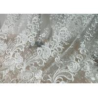 China Embroidered Floral Sequin Tulle Lace Fabric For Bridal Couture Polyester Nylon Material wholesale