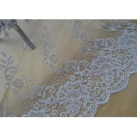 China Floral Embroidery Corded Lace Fabric , Bridal Sequin Mesh Fabric With Scalloped Edge wholesale
