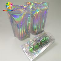 China Custom Plastic Mylar Resealable Stand Up Pouches Holographic Cosmetics Packaging wholesale