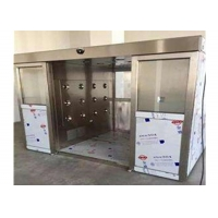China Auto Double Sliding Door Air Shower Tunnel PLC Control wholesale