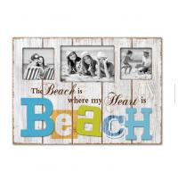 China Home Decor Family Photo Beach Vintage MDF Photo Frame Plaque Wooden Plaque Cool Plate Wood Hanging Plaques wholesale