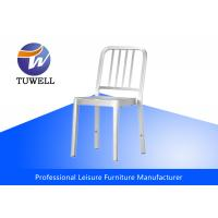 China Indoor Waterproof Stackable Aluminum Navy Dining Chair With Brushed Aluminum wholesale