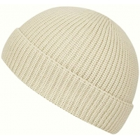 China Yellow Acrylic Plain Knit Beanie Hats With Short Brim Adult Size wholesale