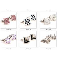 China Custom Size Stainless Steel Cufflinks Red Rhinestone Engraved Crystal Built In wholesale