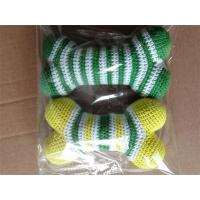 China Cotton Crochet Dog Toys Knitted Bone Squeaker Toy Colourful Stripes on sale