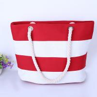 China Printed Stripe Cotton Canvas Bags With Two Soft Cotton Rope Handles wholesale