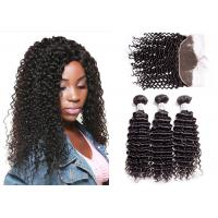 China 100 Remy Smooth Deep Curly Hair Bundles With Lace Frontal No Tangling wholesale