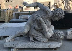 China BLVE Marble Naked Man Fighting Statue Roman Sculpture Life Size Natural Cave Stone Hand Carved Garden wholesale