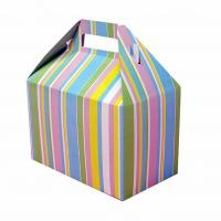 China Beautiful Foldable Cake Packaging Box Silver Art / Kraft Paper With Handle wholesale