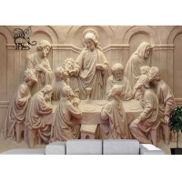 China Marble Last Supper Jesus Relief Wall Sculpture Catholic Religious Handcarved Wall Decoration wholesale