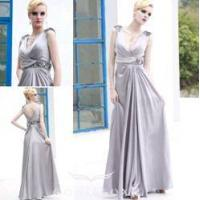 China chic silver prom gowns,  v-neck designer prom gowns wholesale