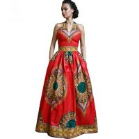 China African Style Dresses Women Dashiki Wax Batik Printing Sleeveless Sexy V Neck wholesale
