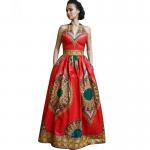 China African Style Dresses Women Dashiki Wax Batik Printing Sleeveless Sexy V Neck wholesale