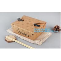High Quality Custom PE Coated Disposable Kraft Paper Lunch Box,Rectangle Folding