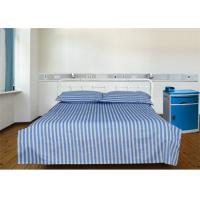 China Blue 40S Stripe And 100% Cotton 220TC Hospital Bed Sheet / Hotel Collection Bedding Sets wholesale