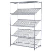 Quality 5 - Tier Chrome Plated Steel Slanted Wire Shelving Unit For Food Display Or Sales for sale