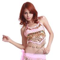Quality Adult Pink Chiffon Belly Dancing Bra Tops With Sequin / Beads , Sexy Hollow Out Style for sale