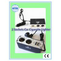 China wholesale car cigarette lighter with car charger/2USB ports/female sockets/with battery clip wholesale