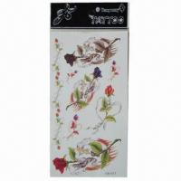 China Removable Body Tattoo Stickers, Safe and Nontoxic, Easy-to-apply and -remove wholesale