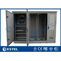 China Three Doors Gray Color IP55 Outdoor Triple Bay Racking Cabinet Base Station wholesale