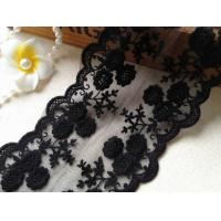 China Black Flower Embroidery Tulle Mesh Nylon Lace Trim With Scalloped Edge 4.3'' Width wholesale