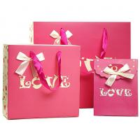 China Pink Cutom Color Printing Paper Gift Bags , Recycled Paper Shopping Bags wholesale