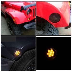 China IP 68 Jeep Wrangler Headlights , 2x Smoked LED Front Fender Flare Turn Signal Side Marker Light wholesale