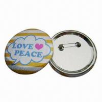 Buy cheap Button Badges with CMYK Color Offset Printing and Safety Pin, Customized Designs are Accepted from wholesalers