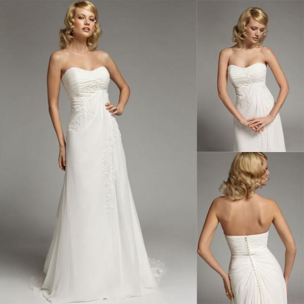 Sheath Chiffon Strapless Wedding Gowns / Open Back Wedding ...